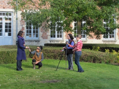 Trainees in October course recording an interview