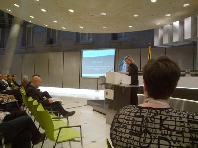 Minister Hilder Crevits addresses the Grensverleggers conference