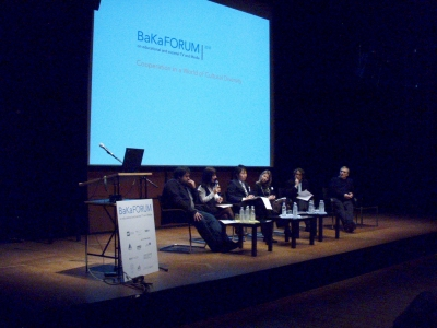 Elina Megalou, Manager of the EduTubePlus Project with other panelists at BaKaFORUM