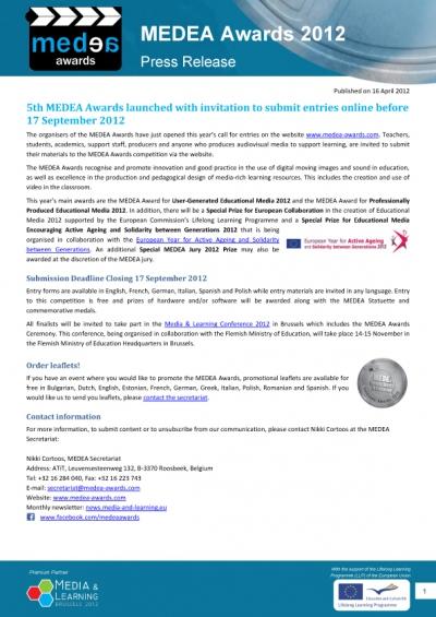 MEDEA Awards Press Release 16 April 2012