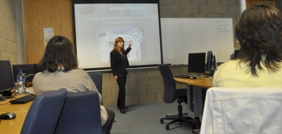 Deborah Arnold introduces the training workshop on animation