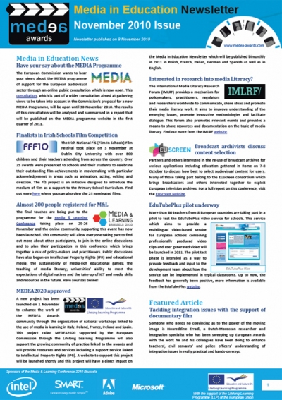 November issue of Media in Education Newsletter