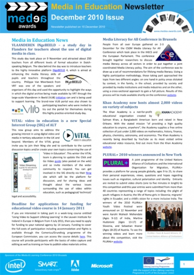 front page of the December issue of Media in Education