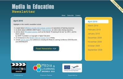 Media in Education Newsletter website