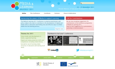 A screenshot of the new Media & Learning 2011 Conference website