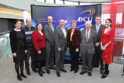Minister for Education Ruairi Quinn with DCU Staff and invited guests at launch