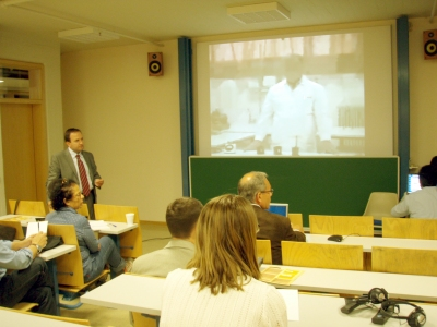 Sofoklis Sotiriou (EA) demonstrates videoconferencing over satellite for teacher training