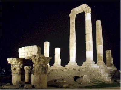 Heracles Temple in Amman by night