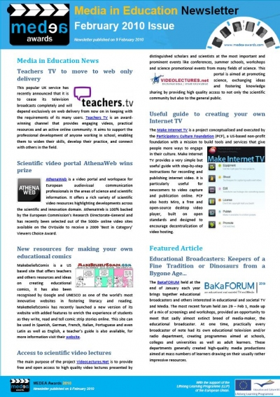 Cover February Newsletter Media in Education