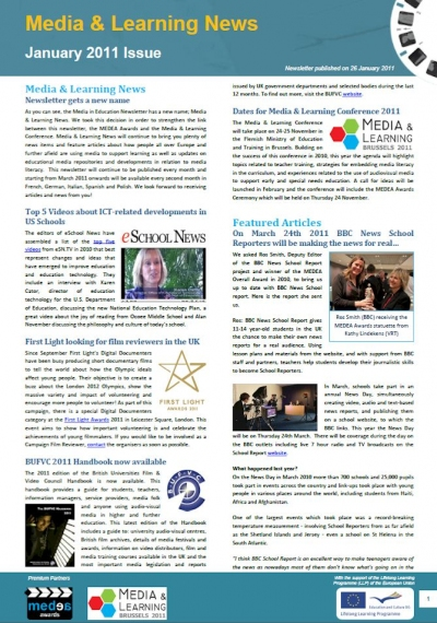 Front page of Media & Learning News
