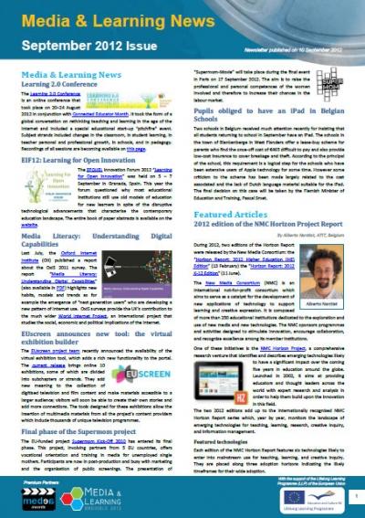 cover of September issue of Media & Learning News