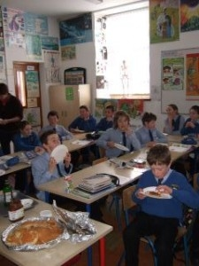 Moveen pupils enjoying the fruits of their labours on Pancake Tuesday