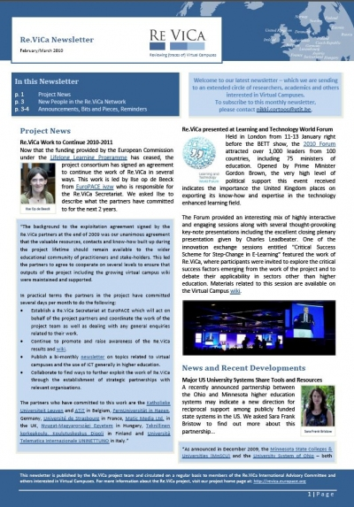 Front cover of the Re.ViCa Virtual Campus Newsletter Feb-Mar
