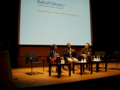 Jacqui Hlongwane-Papo, SABC South Africa, Adze Ugah, South Africa and Markus Nikel, RAI, Italy at the start of the BaKaFORUM
