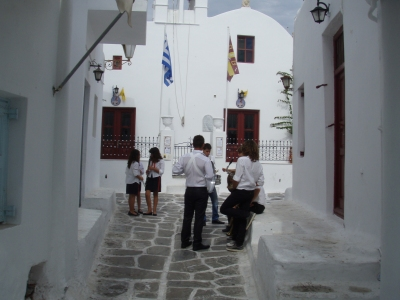 on the streets of Mykonos