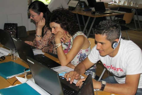 Part of the group working hard on the editing process