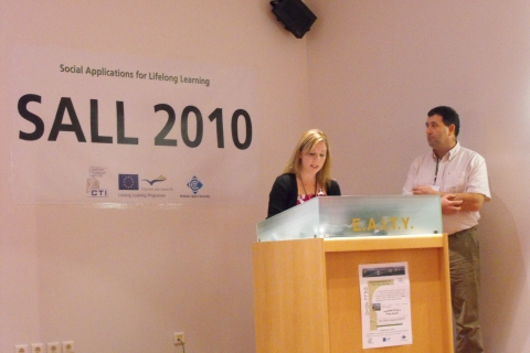 Cara Roche and Jim O'Sullivan presenting the Irish schools experience in Patras, Greece