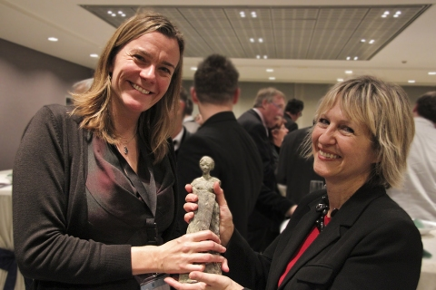 Ros Smith (BBC) receiving the MEDEA Statuette from Kathy Lindekens (VRT)
