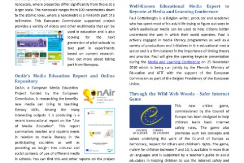 Media in Education Newsletter July Issue Screenshot of first page