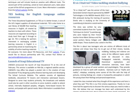 April 2011 issue of Media & Learning News