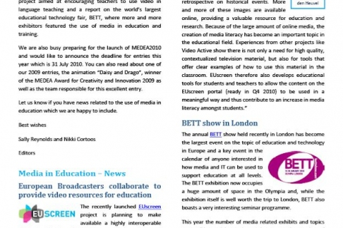 Cover of MiE newsletter