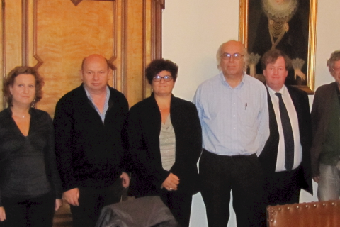 The MEDEA Association founders: M. Vanbuel (ATiT), D. Diotti (CSP), G. Casanova (Aunege), E. Panto (CSP), E. Luyten (K.U.Leuven), B. Mullarkey (IADT), G. Roberti de Winghe (Notary), E. Koitla (IETF)