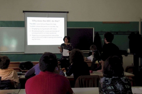 Helen Shreeve, BBC Schools Report speaking at workshop
