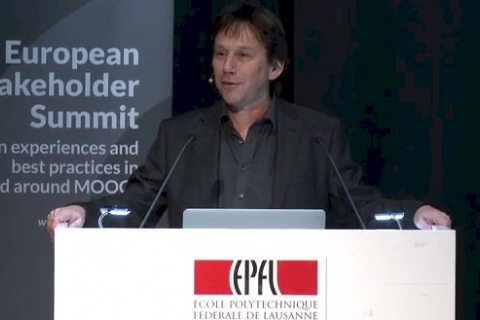 Pierre Dillenbourg from EPFL Switzerland and the chair of the event opening the conference