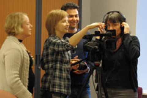 Course participants in the February course shooting their clip