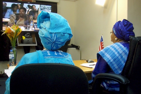 President Johnson Sirleaf and Yvette Chesson-Wureh during the Dialogue